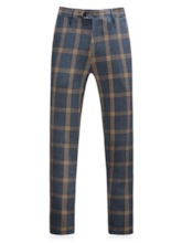 Plaid One Button Pants Button Men's Dress Suit