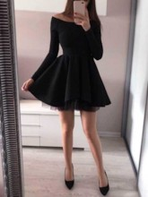 Off-The-Shoulder Long Sleeves Black Cocktail Dress 2019