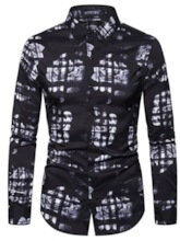 Color Block Lapel Print Casual Single-Breasted Men's Shirt