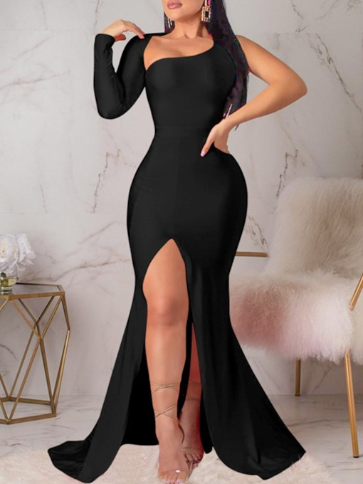 Floor-Length Split Long Sleeve Oblique Collar Pullover Women's Maxi Dress
