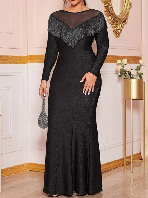 Plus Size Round Neck Long Sleeve Floor-Length Patchwork Elegant Women's Dress