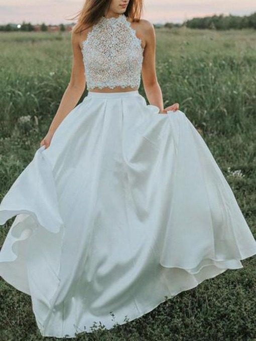 Two Pieces Pockets Lace Garden Wedding Dress