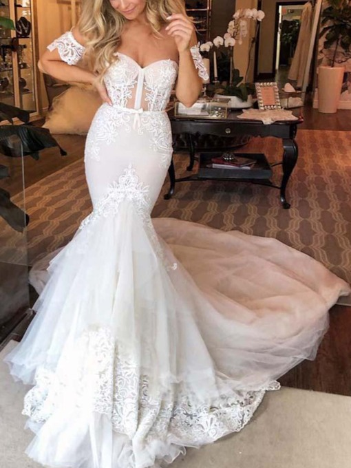 Off the Shoulder Appliques Short Sleeves Mermaid Wedding Dress 2019