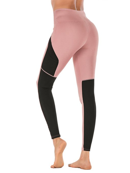Color Block Anti-Sweat Polyester Pockets Ankle Length Running Female Pants
