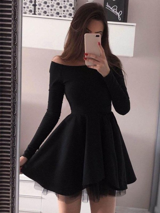 Off-The-Shoulder Long Sleeves Black Cocktail Dress