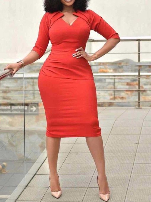 V-Neck Mid-Calf Three-Quarter Sleeve Regular Women's Bodycon Dress