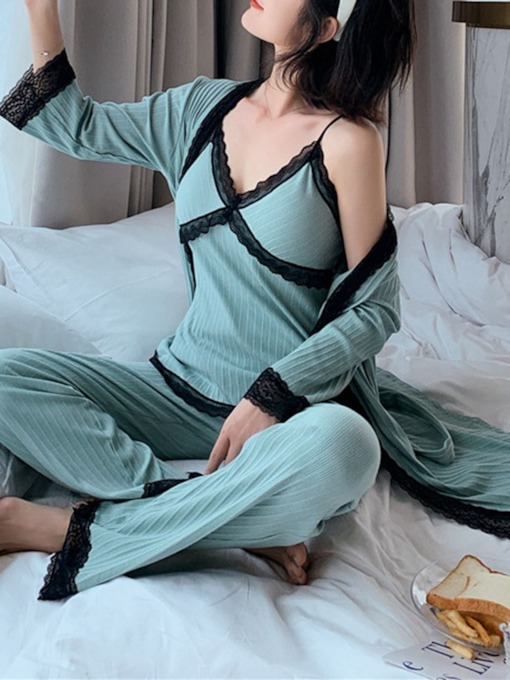 Sexy Color Block Patchwork Sleep Bottom Women's Pajama Suit
