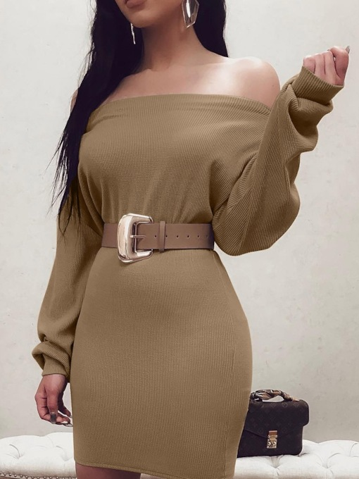 Off Shoulder Above Knee Long Sleeve Cold Shoulder Women's Bodycon Dress