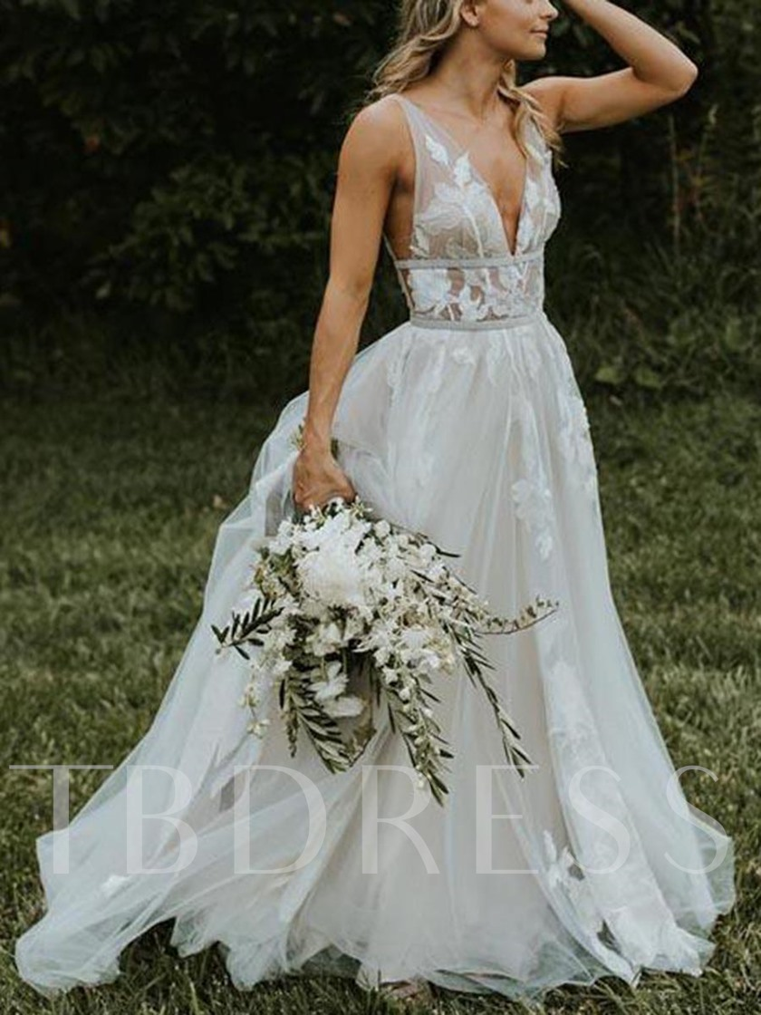 V-Neck Sashes Appliques Beach Wedding Dress 2019