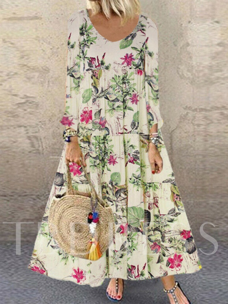 Print Ankle-Length Nine Points Sleeve Round Neck A-Line Women's Maxi Dress