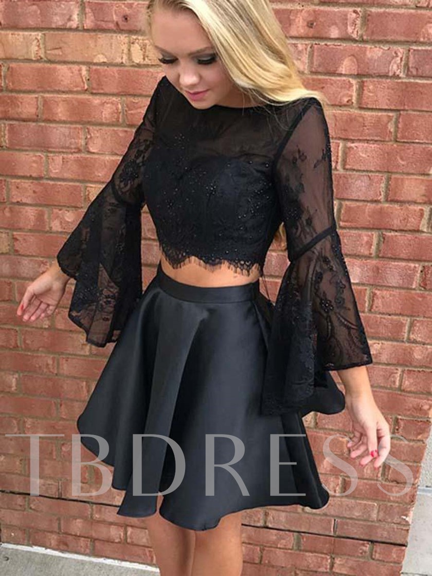 Two Pieces Long Sleeves Bateau Lace Cocktail Dress