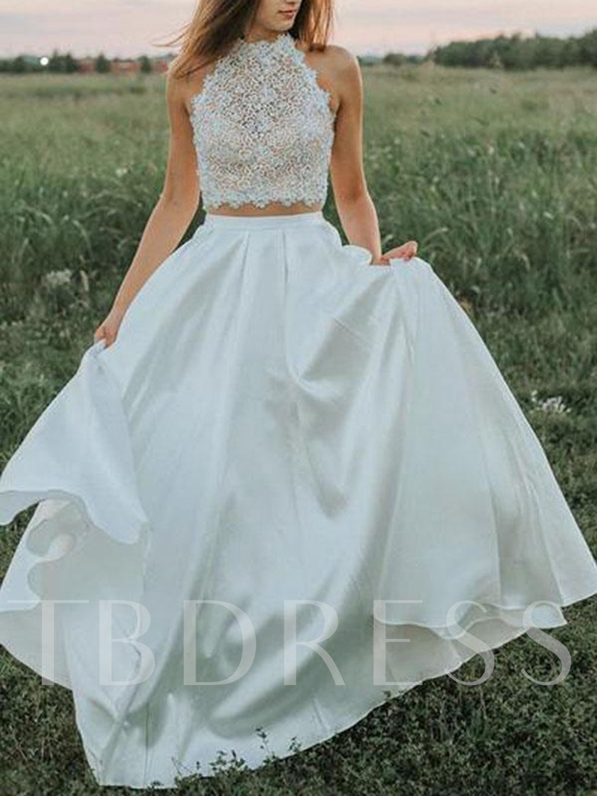 Two Pieces Pockets Lace Garden Wedding Dress 2019