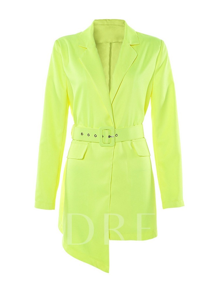 Belt Long Sleeve Above Knee Notched Lapel Pullover Women's Bodycon Dress