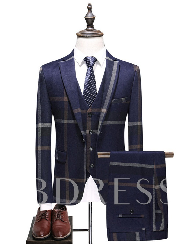 Button England Color Block Vest Men's Dress Suit