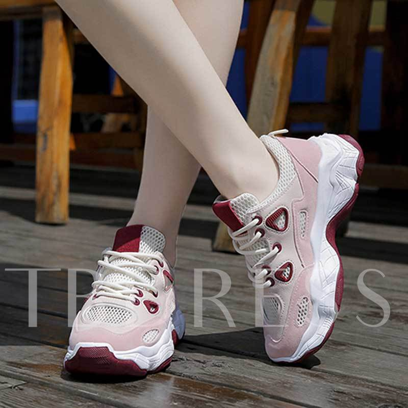 Lace-Up Low-Cut Upper Round Toe Mesh Women's Sneakers