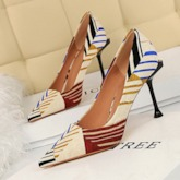 Slip-On Pointed Toe Stiletto Heel Color Block Women's Pumps