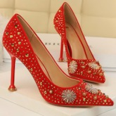 Rhinestone Slip-On Stiletto Heel Pointed Toe Sexy Pumps