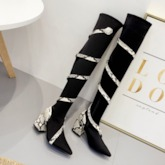 Serpentine Pointed Toe Chunky Heel Side Zipper Thigh High Boots