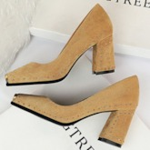 Chunky Heel Slip-On Thread Square Toe Suede Banquet Pumps