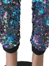 Sequins Loose Color Block High Waist Women's Casual Pants