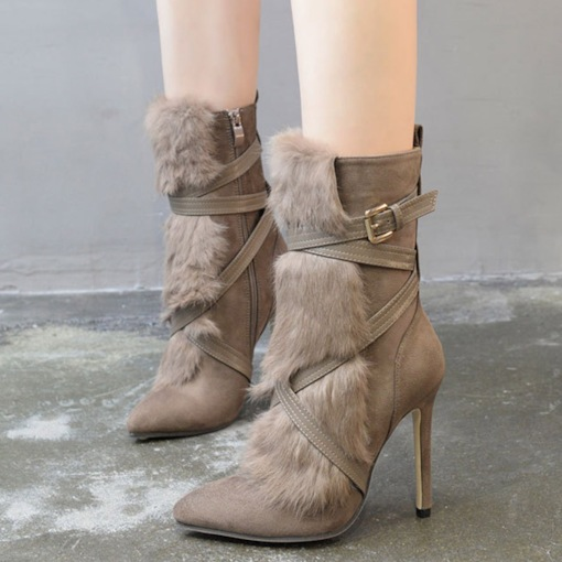 Stiletto Heel Pointed Toe Side Zipper Fluffy Ankle Boots