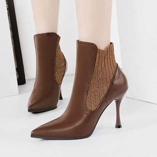 Slip-On Stiletto Heel Pointed Toe Patchwork Ankle Boots