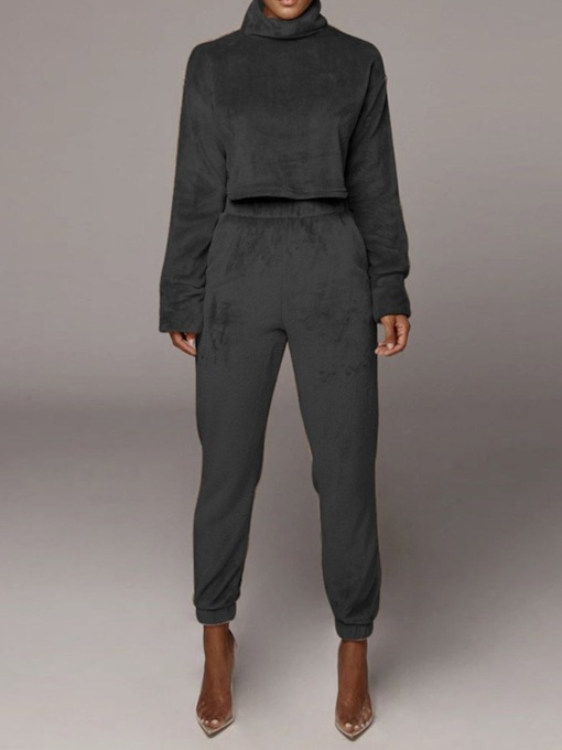 Casual Plain Pullover Slim Women's Two Piece Sets