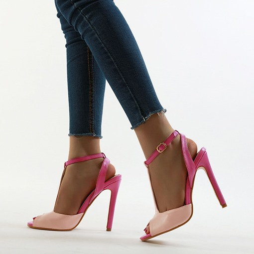 T-Shaped Buckle Stiletto Heel Peep Toe Sexy Sandals