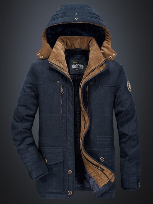 Patchwork Mid-Length Hooded Zipper Men's Down Jacket