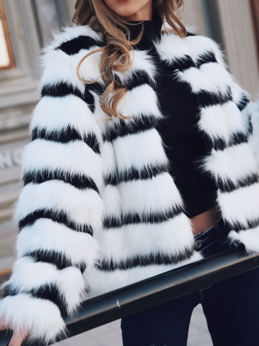 Mid-Length Color Block Loose Women's Faux Fur Overcoat