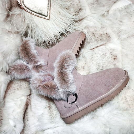 Round Toe Patchwork Slip-On Casual Snow Boots