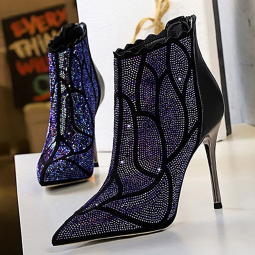 Stiletto Heel Back Zip Pointed Toe Rhinestone Ankle Boots