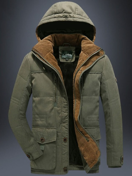 Hooded Mid-Length Zipper Casual Men's Down Jacket