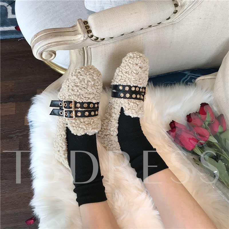 Slip-On Round Toe Low-Cut Upper Winter Flats