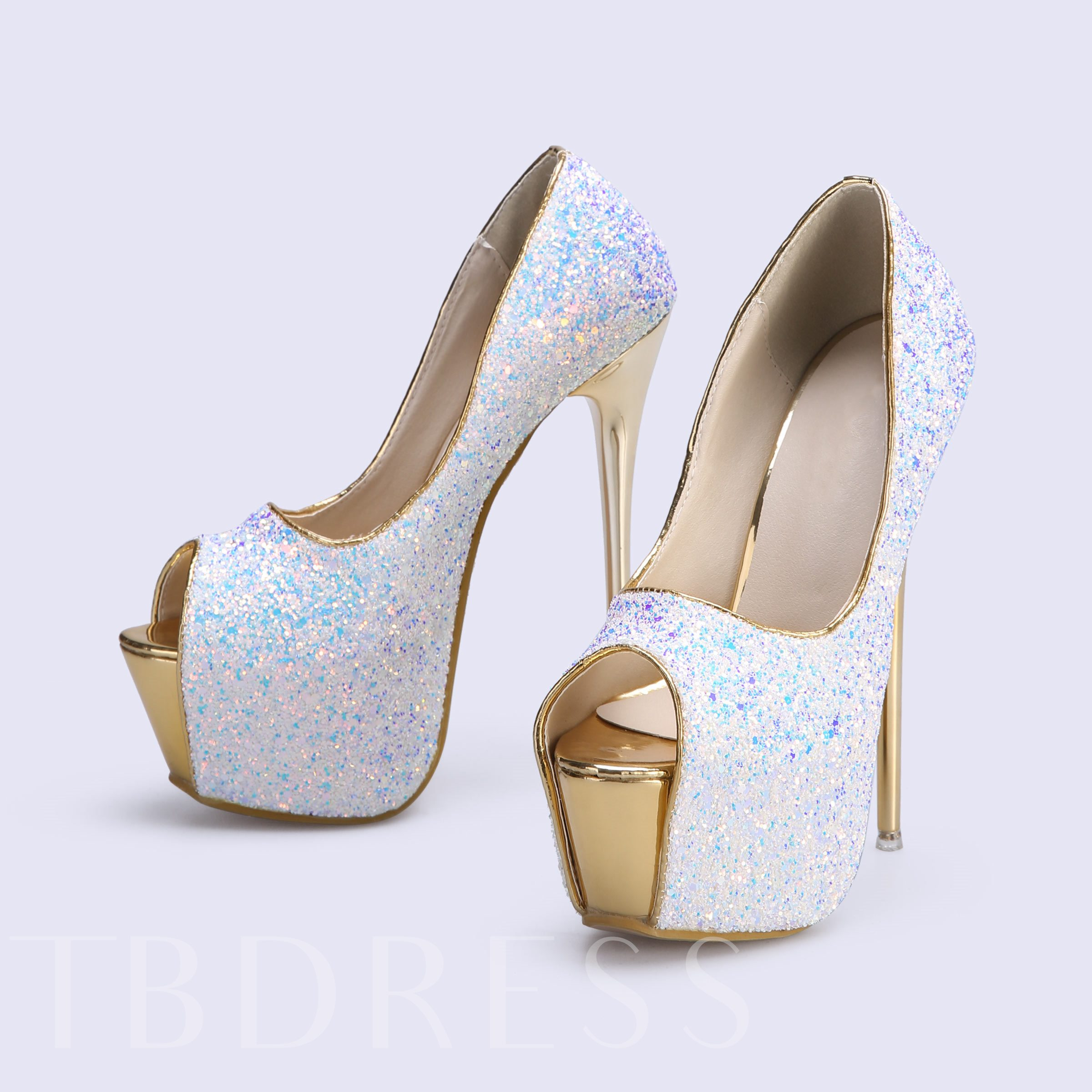 Stiletto Heel Peep Toe Banquet Sequins Platform PU Women's Pumps