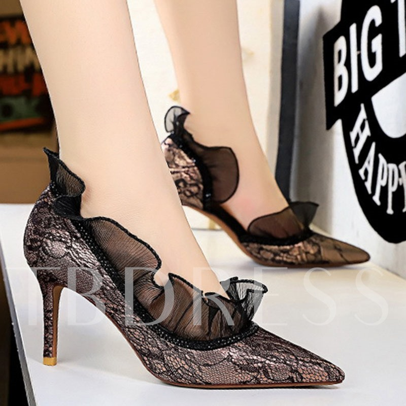 Stiletto Heel Slip-On Pointed Toe Lace Banquet Pumps
