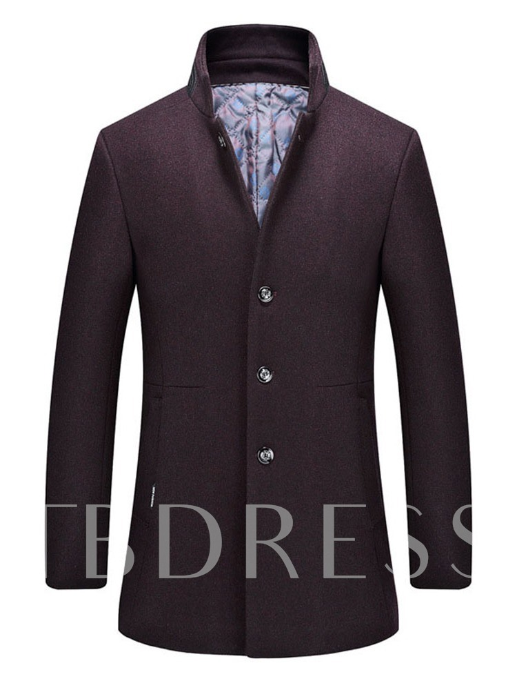 Plain Stand Collar Mid-Length Button Casual Men's Coat