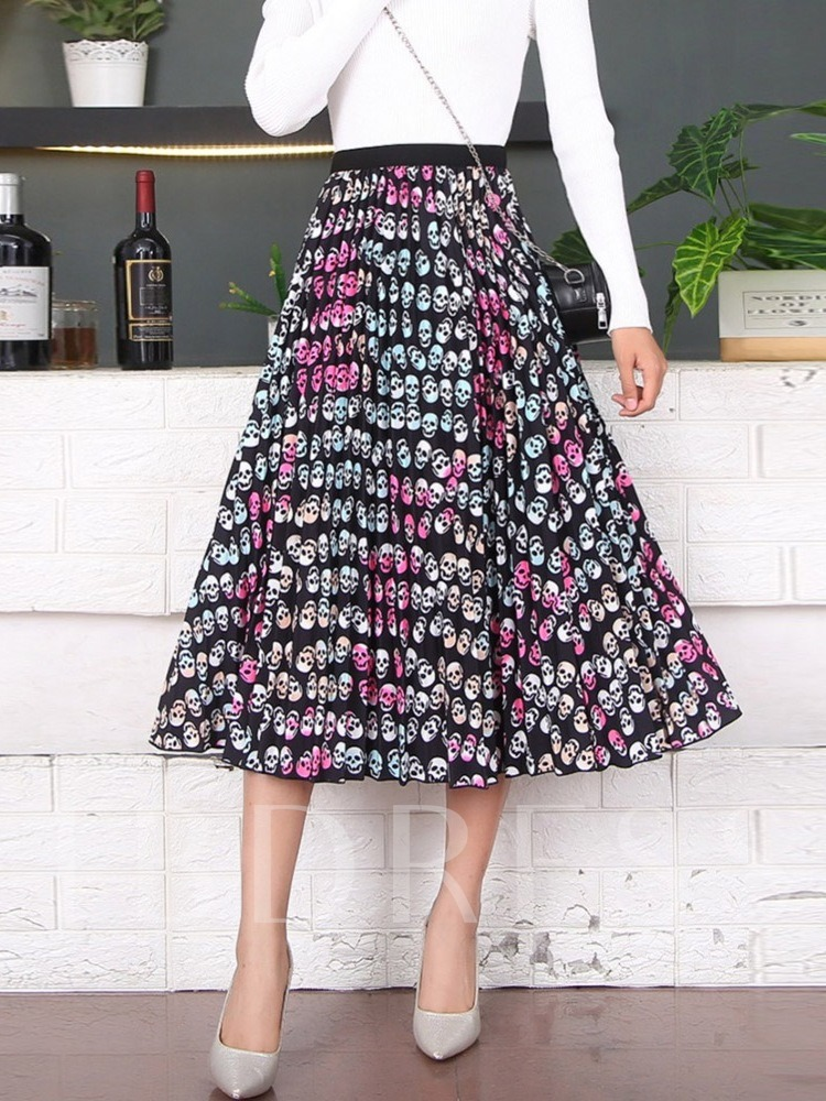 Print Plant Pleated Mid-Calf Casual Pumpkin Women's Skirt