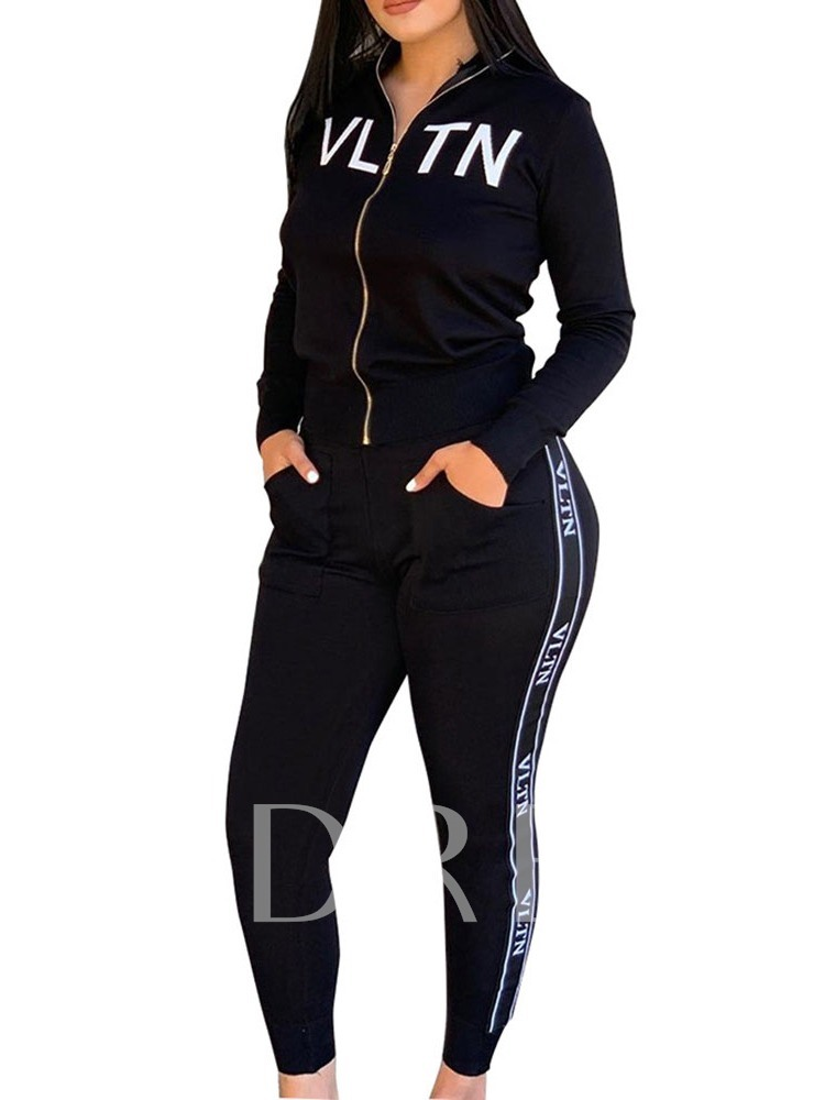 Plain Casual Zipper Women's Two Piece Sets