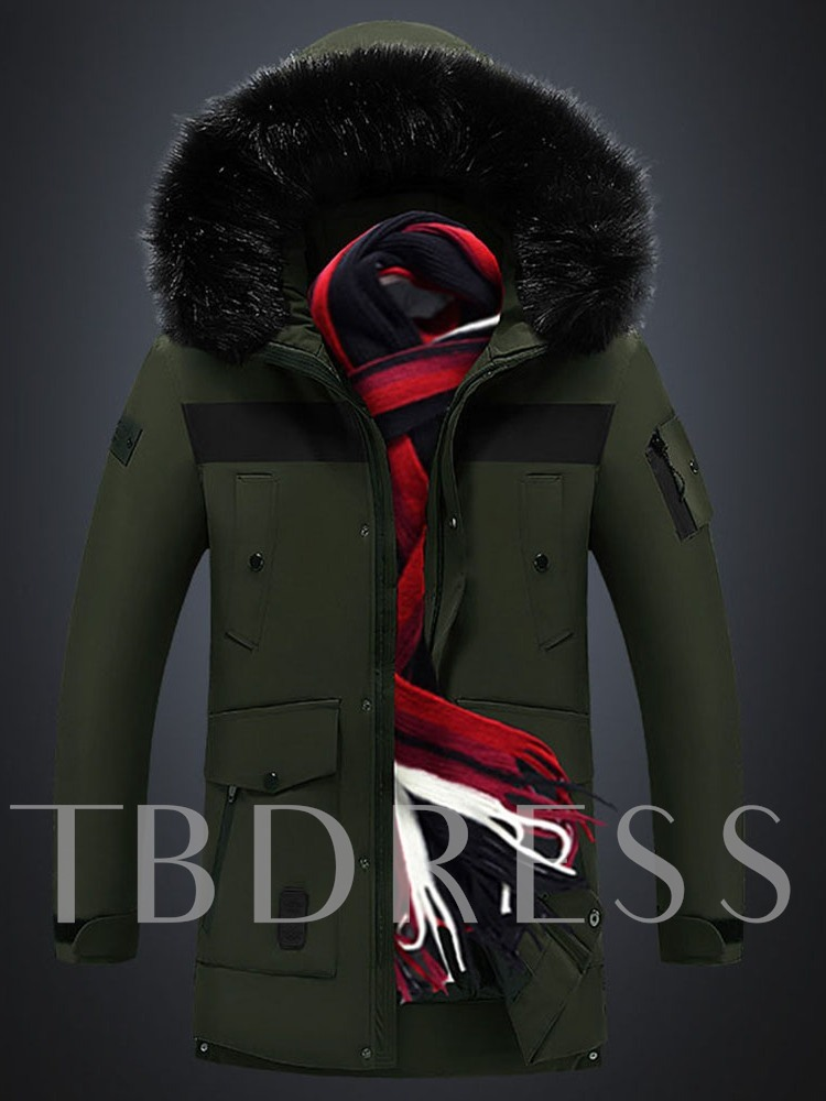 Color Block Mid-Length Patchwork Hooded Casual Men's Down Jacket