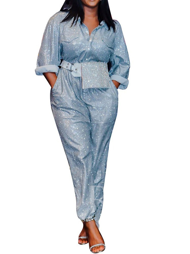 Pocket Ankle Length Fashion Plain Loose Women's Jumpsuit
