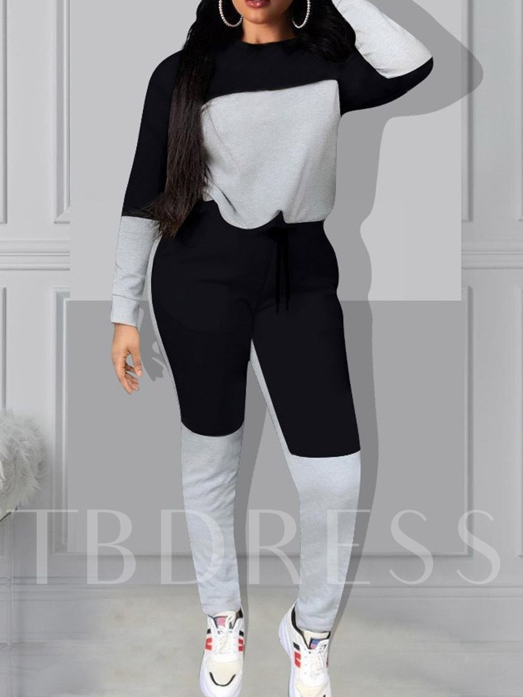 Casual Color Block Round Neck Women's Two Piece Sets