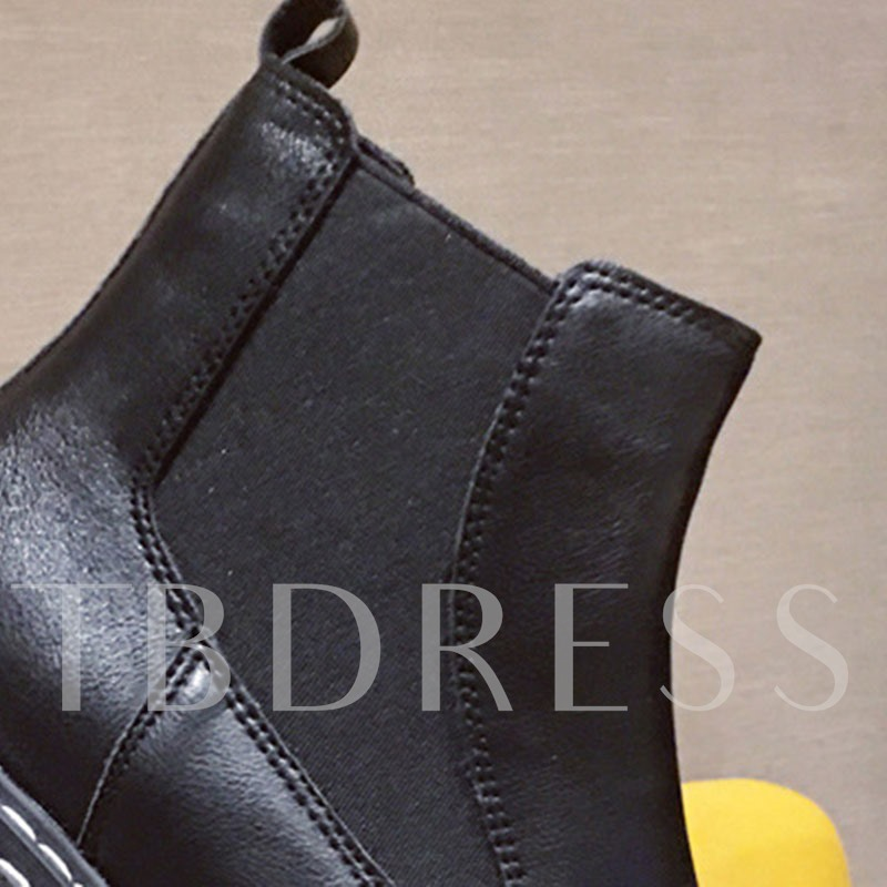 Slip-On Patchwork Round Toe Casual Martin Boots