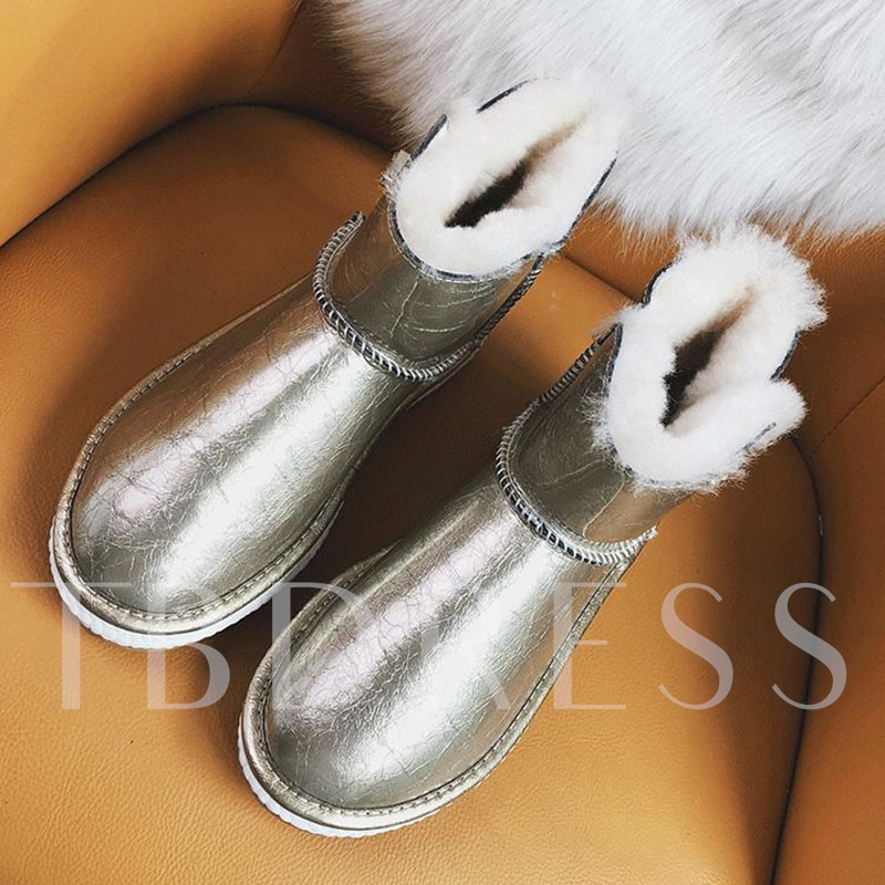 Round Toe Hasp Patchwork Casual Snow Boots