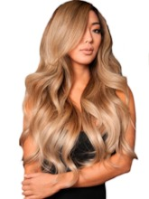 Full Head Women's Blonde Color Long Length Body Wave 100% Human Hair Lace Front Wigs 26Inch