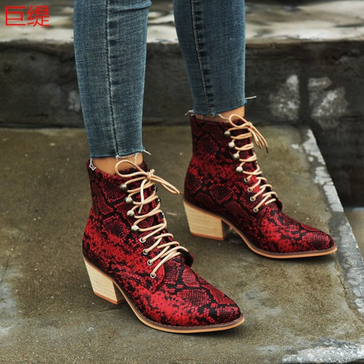 Pointed Toe Lace-Up Front Serpentine Chunky Heel Ankle Boots