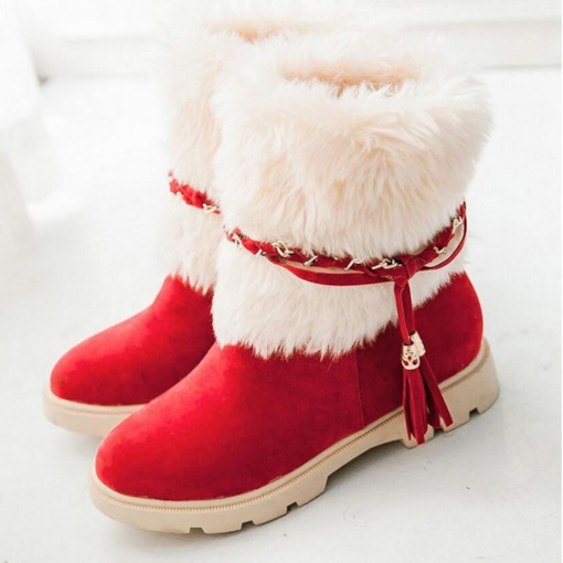 Slip-On Round Toe Patchwork Suede Snow Boots