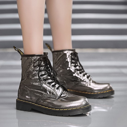 Metallic Lace-Up Front Round Toe Customized Martin Boots