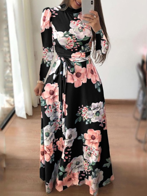 V-Neck Floor-Length Print Long Sleeve Pullover Women's Dress