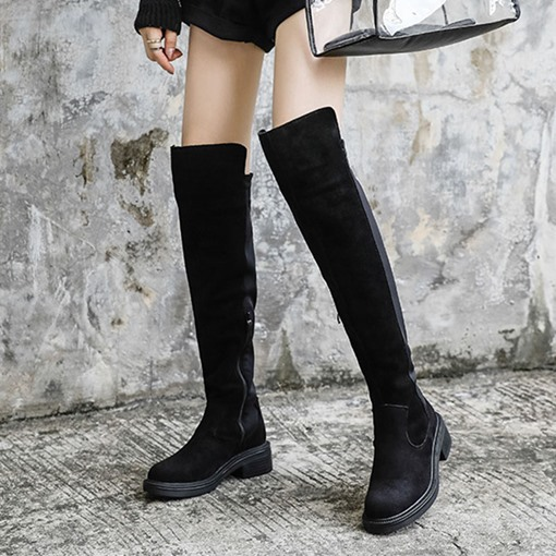 Chunky Heel Round Toe Side Zipper Patchwork Knee High Boots